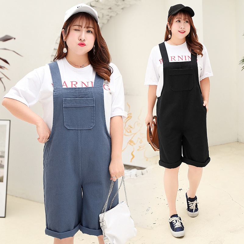 230lb Women Plus Size Women Jumpsuit Overalls Summer Denim Blue Pocket Female Rompers Playsuit Fashion Belted Ladies Overalls