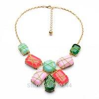 Luksusowe Kobiety Biżuteria Nowy Projekt Mody, Eleganckie i Luksusowe Placu Cukierki Duże Gem Stone Wisiorek Naszyjnik