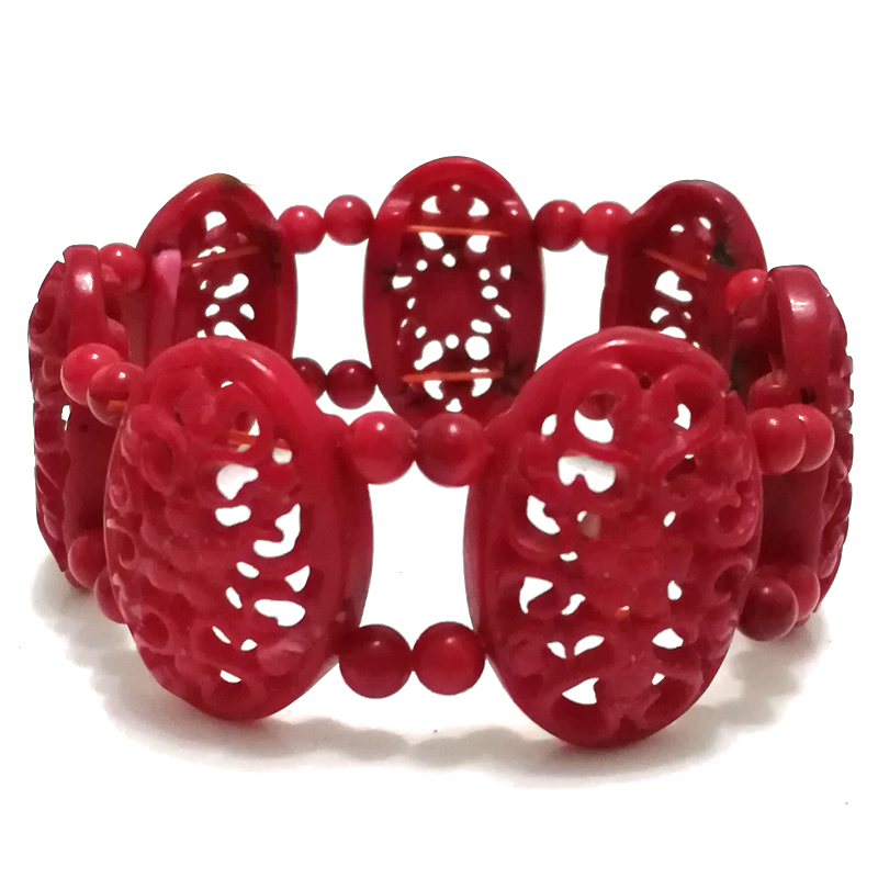 8 inches Stretch Style 20*30mm Red Hollow Out Flower Style Hand Carved Natural Coral Bracelet