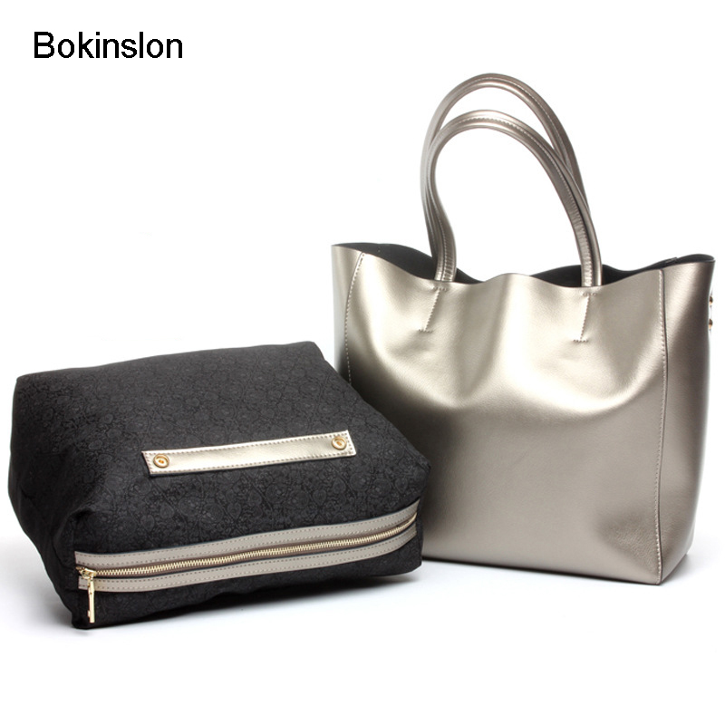 Bokinslon Bags Women Handbag Cow Split Leather Fashion Female Shoulder Bags Elegant Solid Color Ladies Composite Bag fashion matte retro women bags cow split leather bags women shoulder bag chain messenger bags