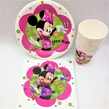 40p/set Minnie Mouse Birthday Party Supplies Plates Cups Napkin Disposable Tableware Theme Favors Decoration