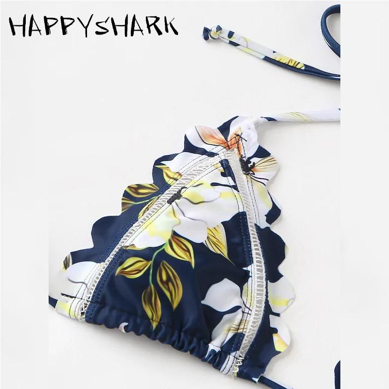 Happyshark бикини с цветочным узором и вырезами Новинка лета