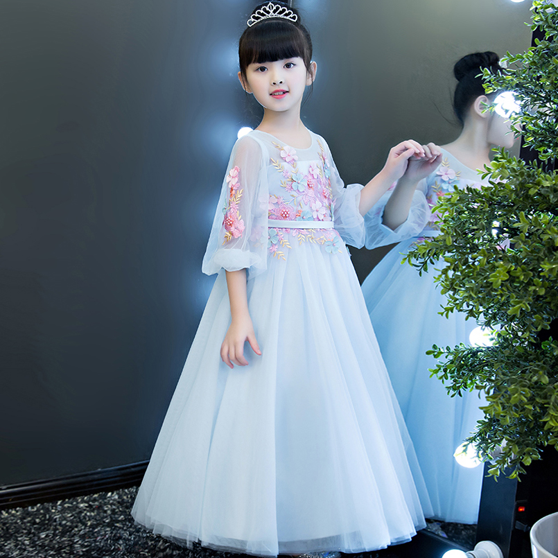 2017 New European Fashion Luxury Children Girls Embroidery Flowers Princess Party Dress Babies Kids Birthday Formal Party Dress a three dimensional embroidery of flowers trees and fruits chinese embroidery handmade art design book