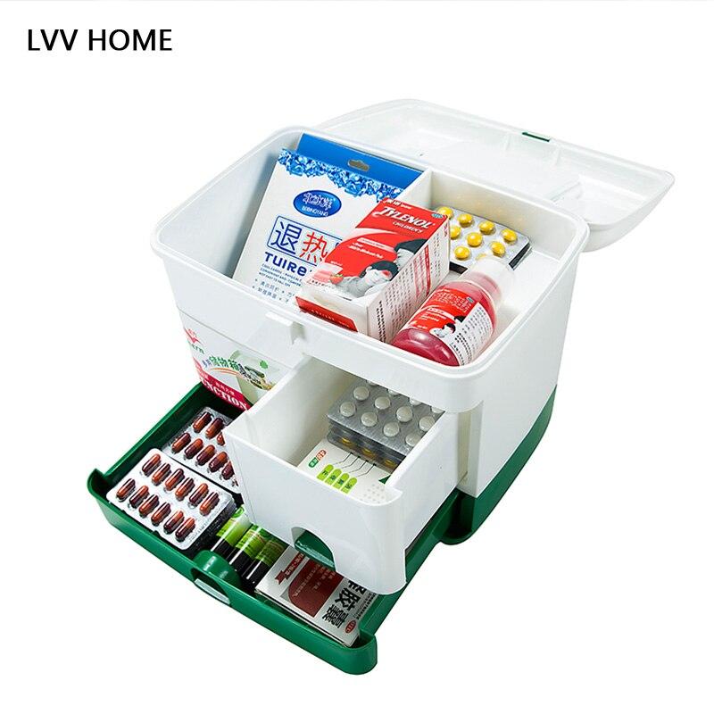 LVV дома большой емкости бытовой медицины коробка/Портативный аптечка наркотиков Коробка для хранения двухслойный Медицина Box