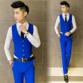 The new 2017 men's fashion boutique cotton wedding dresses suit vests / Male Pure color slim leisure business suit vests
