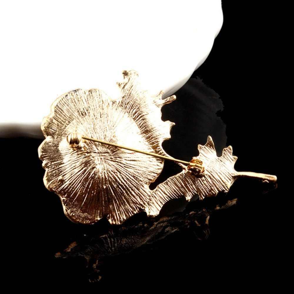 QianBei קלאסי קריסטל פרג פרח וזר פרחים סיכת סיכות זהב צבע עלה סיכת חדש נשים מעיל סוודר חתונה מסיבת חג המולד מתנה
