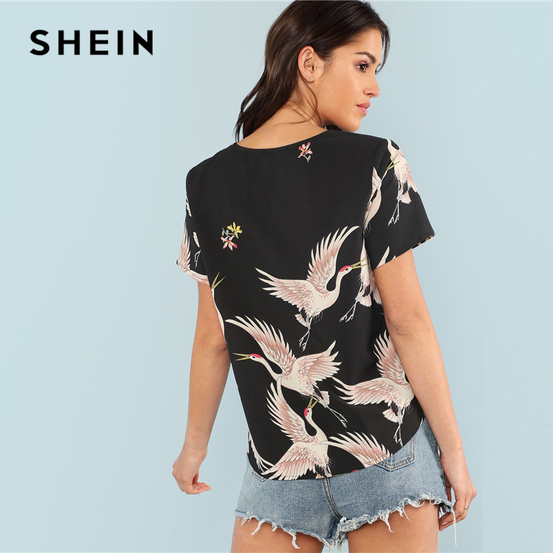 c26e354847c SHEIN Red crowned Crane Print Top 2018 Summer Round Neck Short Sleeve  Casual Top Women Black Floral Animal Print Blouse-in Blouses & Shirts from  Women's ...