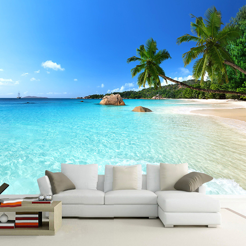 Modern Simple Seaside Landscape Palm Beach Photo Wallpaper Living Room Bedside Backdrop Wall Mural Papel De Parede 3D Paisagem custom 3d photo wallpaper waterfall landscape mural wall painting papel de parede living room desktop wallpaper walls 3d modern