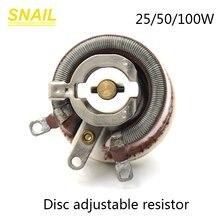 25 Вт 50 Вт 100 Вт BC1 высокомощный реstat, роторный резистор с переменной проволокой, высокое качество, форма диска, регулируемый резистор