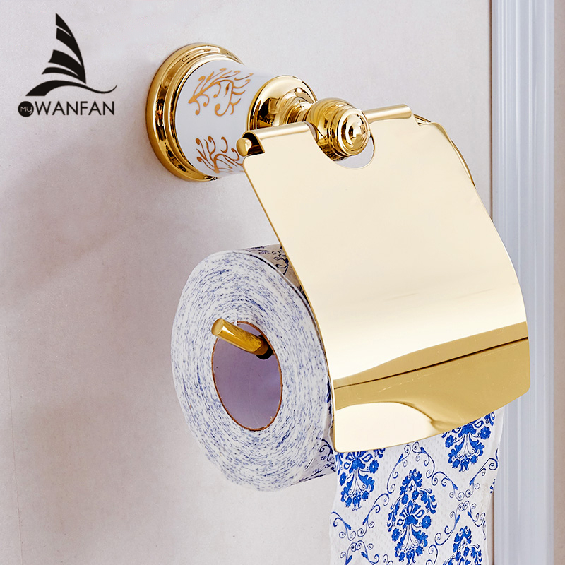 Paper Holders Golden Brass Toilet Paper Roll Holder with Cover Wall Mount Bathroom Fitting Bath Paper Tissue Storage Stand 87307 creative style antique brass toilet paper holder bath storage basket wall mount