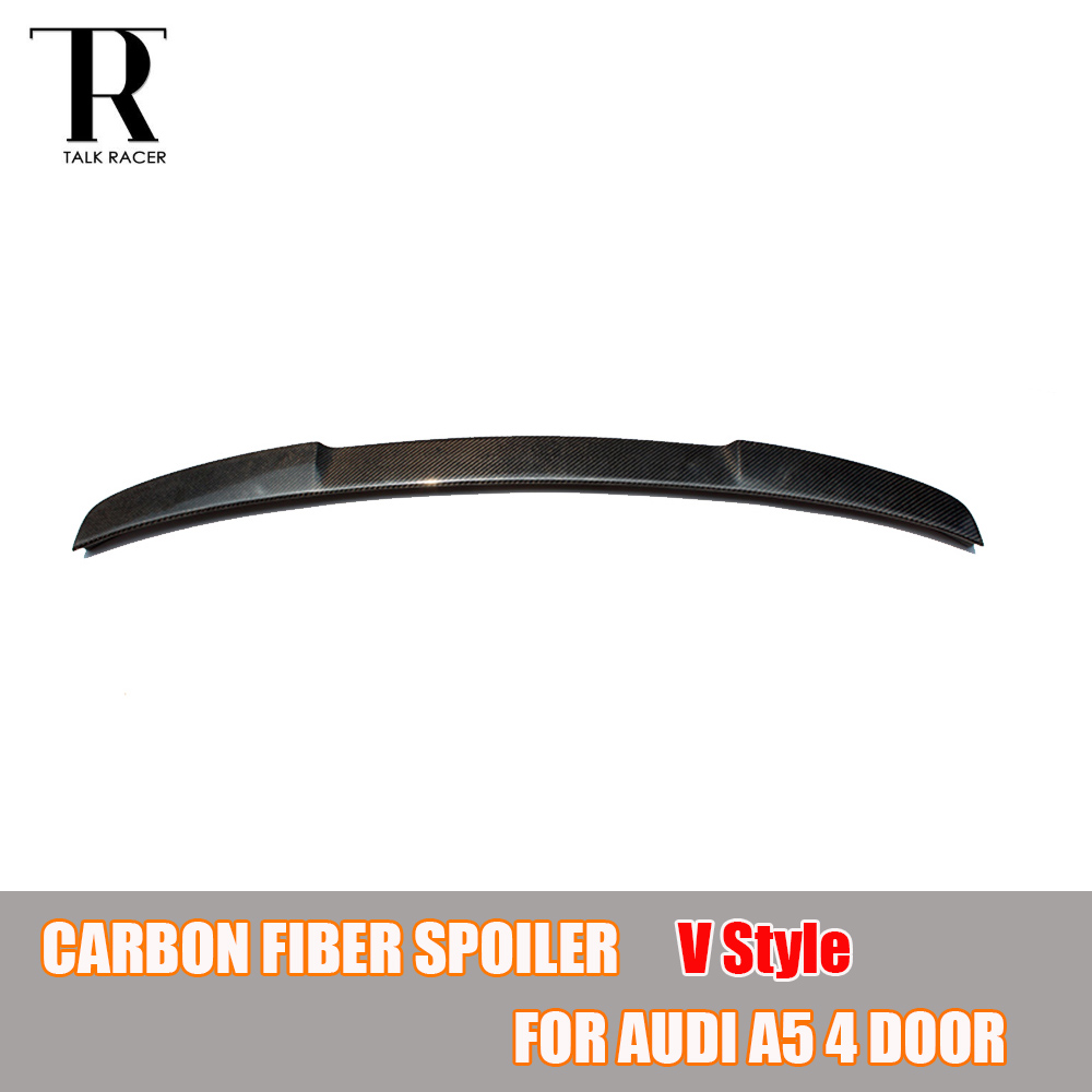 A5 S5 V Style Carbon Fiber Rear Roof Trunk Spoiler Wing for Audi A5 S5 Sedan 4 Door 2009 - 2016 car accessories carbon fiber rear wing trunk lip spoiler for audi a5 s5 sedan 4doors 2009 2010 2011 2012 2013 2014 2015 2016