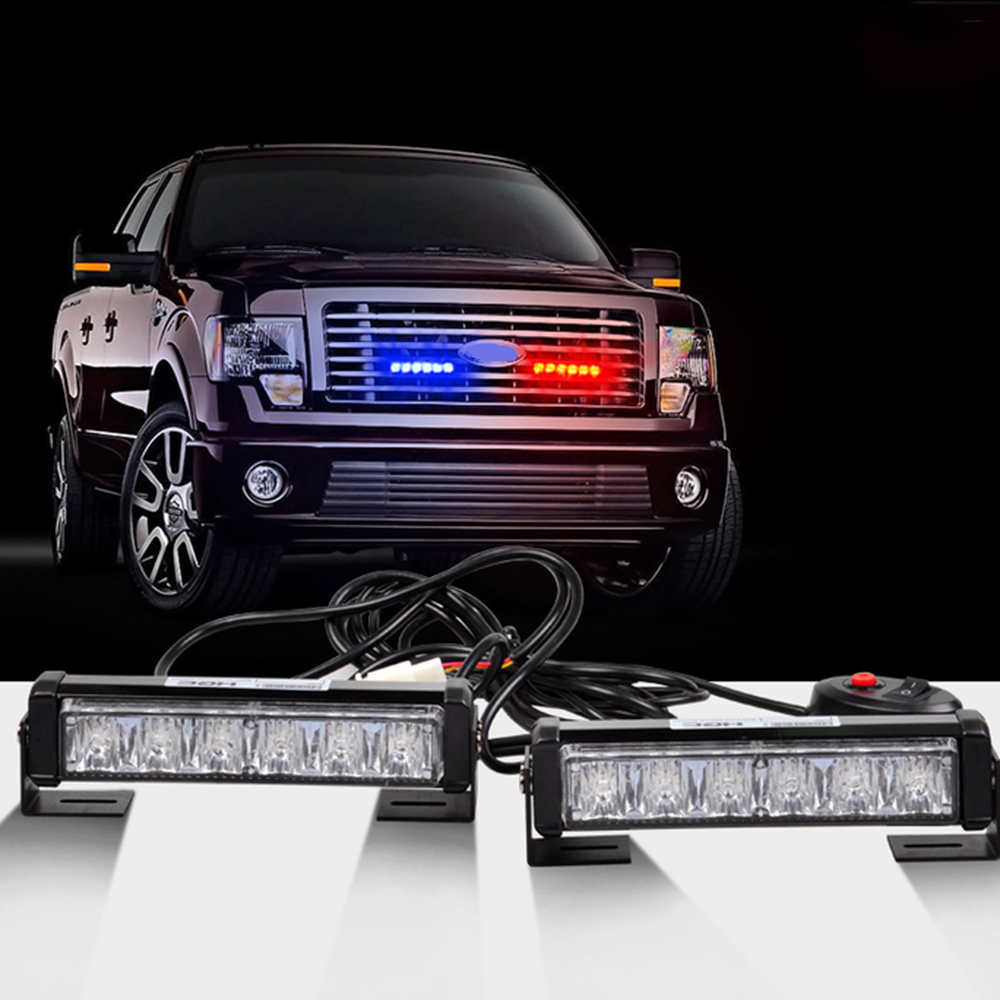 2 x6led car emergency beacon hazard strobe warning grille ems police led waterproof light bar red