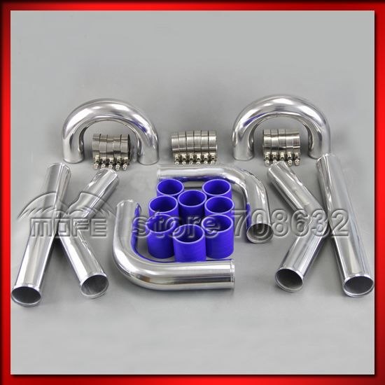 """Univesal Turbo Chrome 2.5"""" 64mm Aluminum Intercooler Piping Pipe + T Clamp + Silicone Hoses Kit silicone hose kit -"""