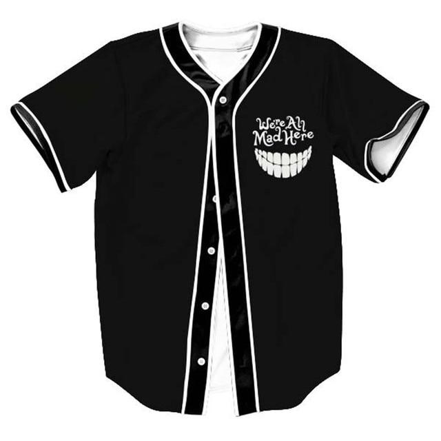 4f61eddfcc7 Fashion Black Cardigan Short Sleeved Button Baseball T Shirt Uniform 3D  Print Funny V-neck Jersey T Shirts Hip Hop Tops Clothing