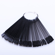 New 50 Tips Nail Art Bamboo Sample Memory Stick Display Card Model False Black Fan Polish Gel Pliable Plaastic Manicure Tool sample of the gel polish from cola