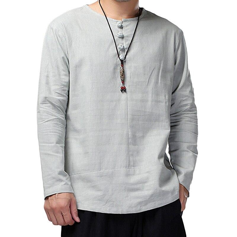 Camisas de linho de algodão dos homens