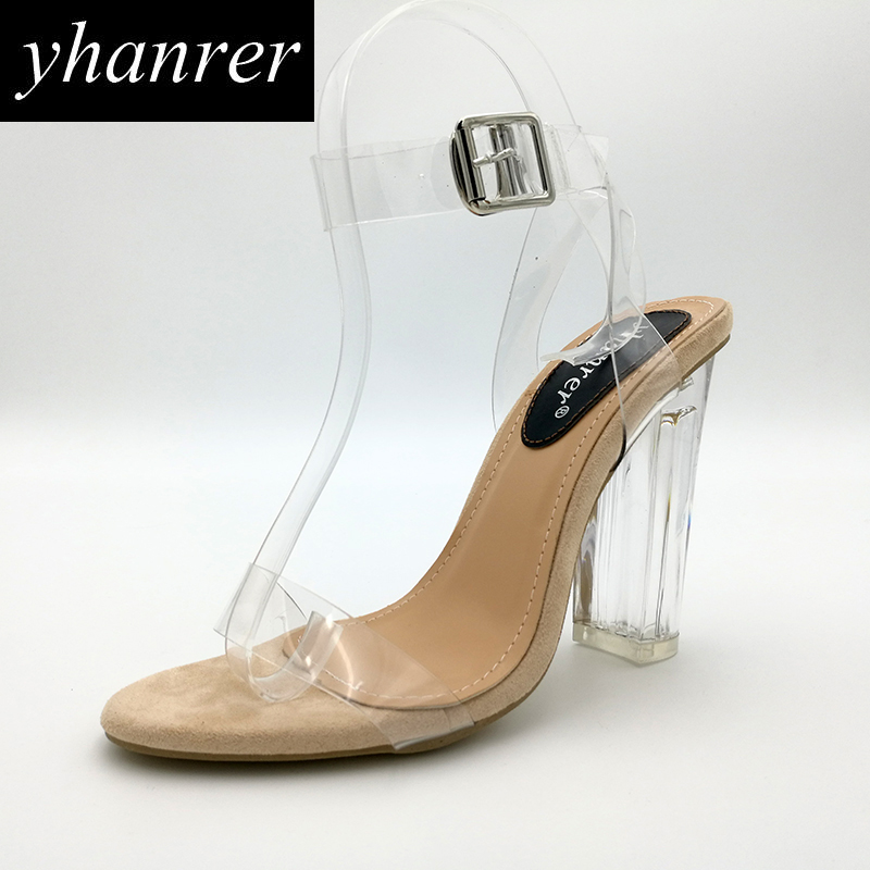 2017 A Estrenar Sandalias de Las Mujeres Transparentes Tacones Altos Cristal Cuadrado Hebilla del talón Correas Cruzadas zapatos de la señora de tacón 11 cm K152