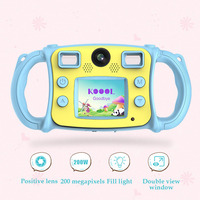 Photo Silicone Handle Dual Lens Portable Mini LCD Screen Gift Video Digital Zoom Flash Lights Camera HD Kids Toy Shockproof