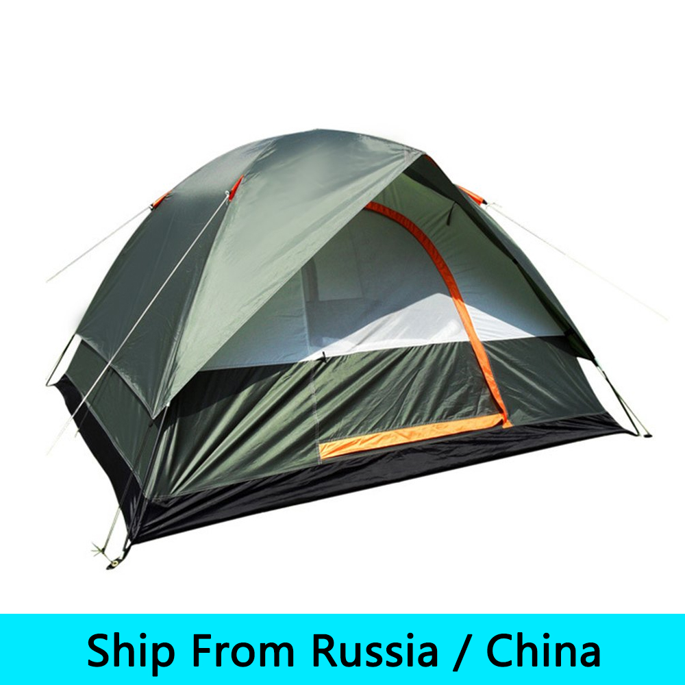 online retailer 8e479 1dce3 US $59.87 |4 People Waterproof Outdoor Camping Hiking Polyester Oxford  Cloth Dual Layers Tent Travel Tent Hot sale-in Tents from Sports & ...