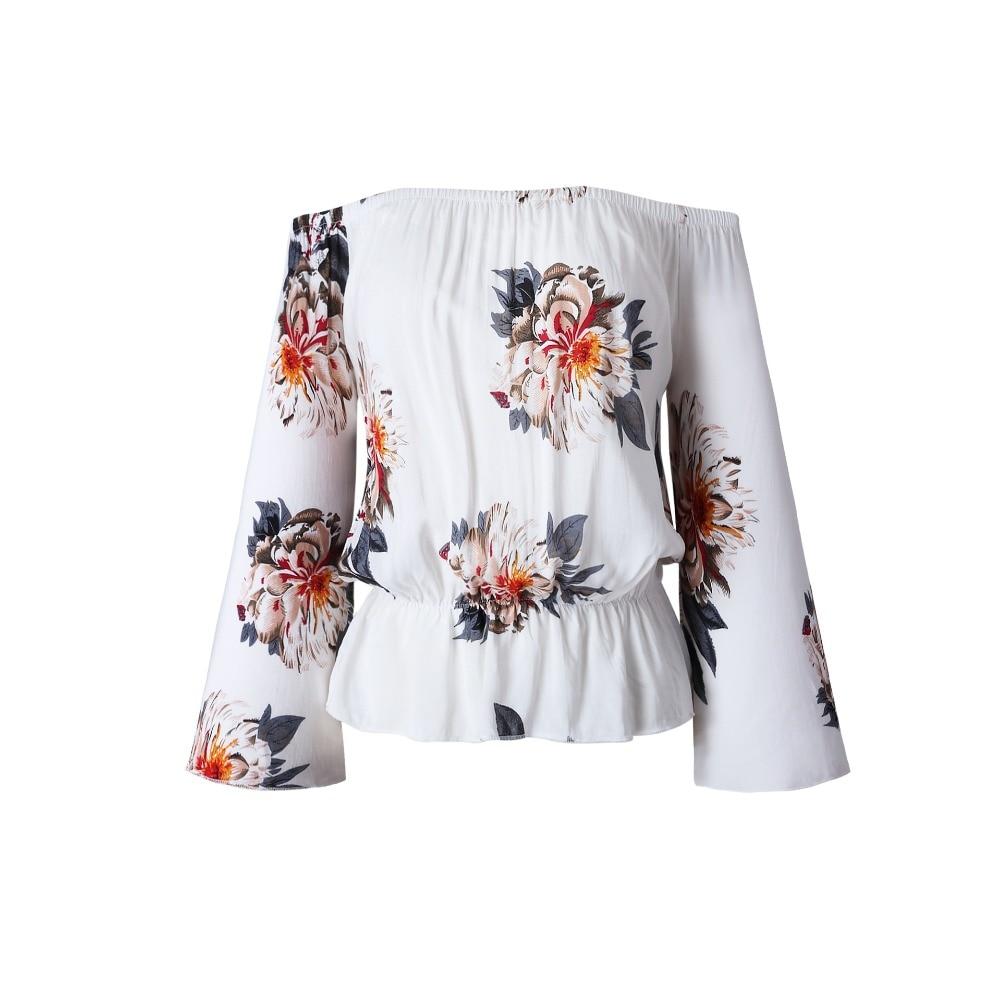 Slash neck Off Shoulder Beach Casual Print T-shirts for Women Harajuku Top Women Crop Top Fashion Women's T-shirts Tops Clothing 3