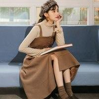 Khaki,Pink Suede Sundress 2018 New Spring Autumn Women Spaghetti Strap Long Dresses Pockets Japan Style Vestidos