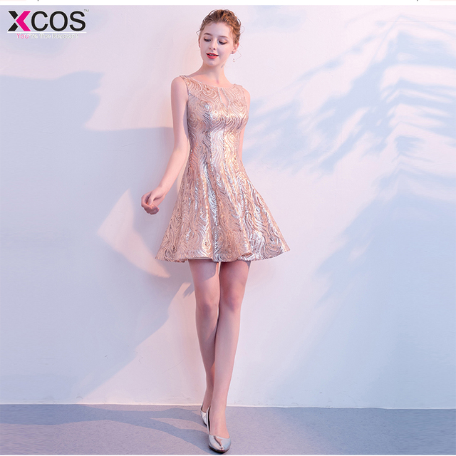 08f268f7b7f Short Cocktail Party Gowns Knee Length Sequined Homecoming Dress 2018  Rovestidos de graduacion Rose Gold Graduation Dresses