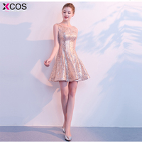 Short Cocktail Party Gowns Knee Length Sequined Homecoming Dress 2018 Rovestidos de graduacion Rose Gold Graduation Dresses