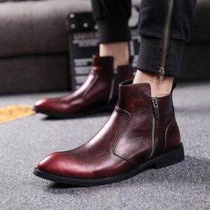 Image 2 - 英国スタイル男性ファッションパーティーナイトクラブドレス本物の革の靴オックスフォード靴春秋チェルシーアンクルブーツ