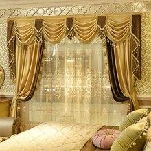 Пользовательские шторы плотные однотонные цвета французский бархат ткань Европейская вышивка Роскошная Затемняющая штора Тюль балдахин N188