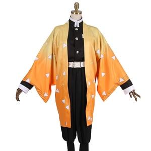 Image 5 - Anime Demon Slayer Agatsuma Zenitsu Cosplay Costumes  Kimetsu no Yaiba Men Kimono Halloween Costumes