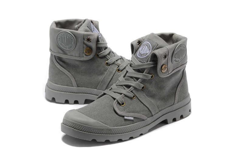 ... PALLADIUM Pallabrouse All Серые кроссовки мужские высокие военные  ботильоны парусиновая повседневная обувь мужская повседневная обувь  европейский 89841903158c8