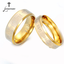 Letdiffery Romantic Forever Love Heart Letter Couple rings Gold Stainless Steel Wedding Bands Engagement Anniversary Jewelry womens mens love you forever ecg rings gold color stainless steel wedding engagement promise rings for women men couple jewelry