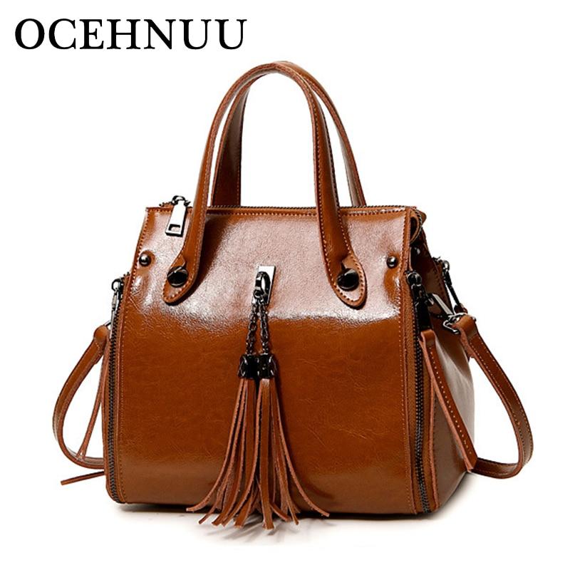 OCEHNUU Tassel Cow Genuine Leather Luxury Handbags Women Bags Female Designer Women Messenger Bags Shoulder Bag 2018 Fashion цена 2017