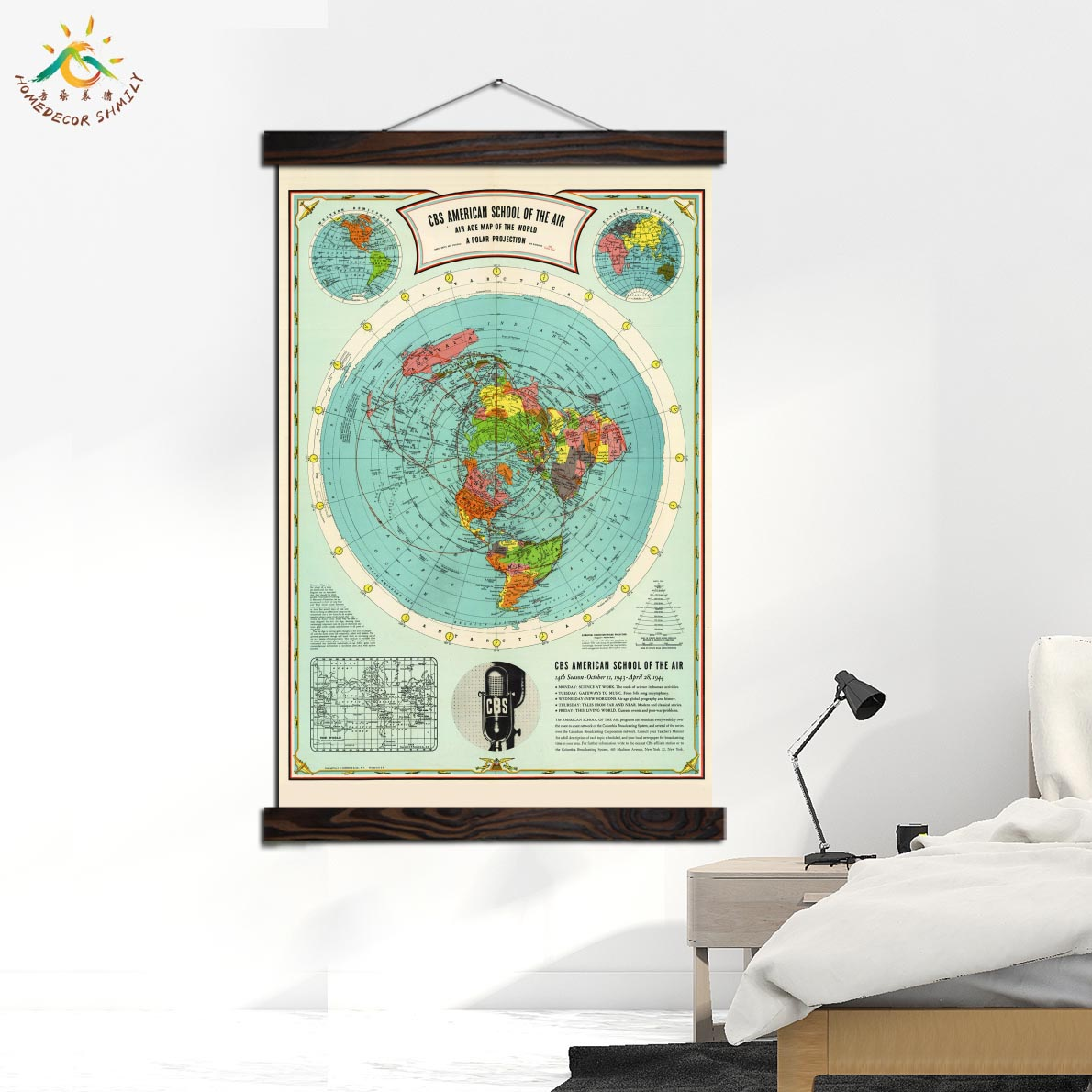 Flat Earth Map School Of The Air Nordic Poster Nature Wall Art Canvas Prints Painting Decoration Pictures Home Decoration in Painting Calligraphy from Home Garden
