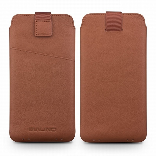 cheap for discount d6503 318f0 US $25.99 |For Galaxy S8 Plus Case QIALINO Genuine Leather Sleeve Phone  Pouch for Samsung Galaxy S8+ SM G955, Size: 158 x 80mm Brown-in Phone Pouch  ...