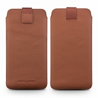 For Galaxy S8 Plus Case QIALINO Genuine Leather Sleeve Phone Pouch for Samsung Galaxy S8+ SM G955, Size: 158 x 80mm Brown