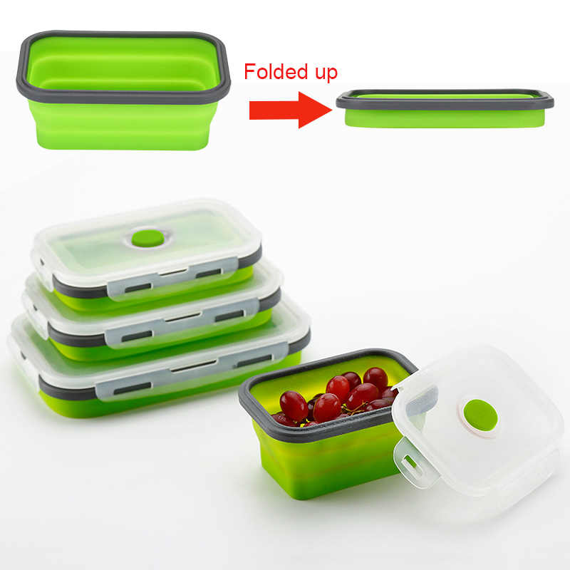Lunch Box Silicone Bowl Folding Foldable Portable Food Storage Container Eco-Friendly 350ML/500ML/800ML/1200ML E2S
