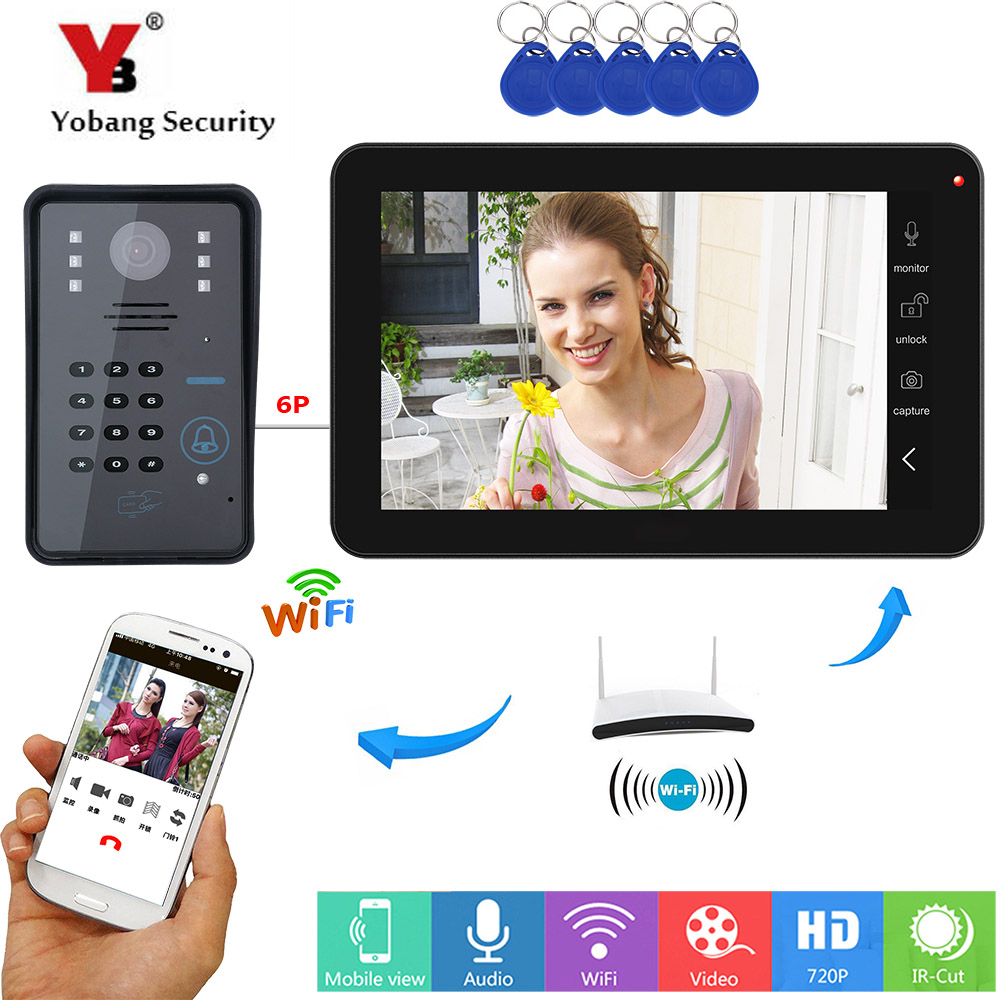 YobangSecurity Password RFID Card Video Intercom 9 Inch Monitor Wifi Wireless Video Door Phone Doorbell Camera Intercom System