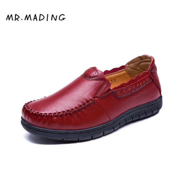 MRMADING Женщины Лодка Обувь Повседневная Обувь Обувь Из Натуральной Кожи Весна Осень Известный Дизайнер Ретро Полное Зерно Сухожилия В Конце