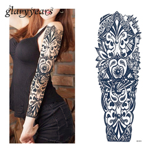 1 Sheet Tattoo Sticker Black Geometry Pattern Women Men Full Flower Arm Body Art Temporary Big Large Tattoo Sticker QB-3010