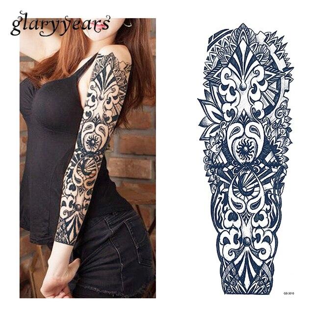 1 blatt tattoo aufkleber schwarz geometrie muster frauen. Black Bedroom Furniture Sets. Home Design Ideas