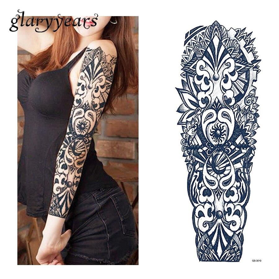 1 lembar stiker tato hitam geometri pola wanita pria penuh bunga lengan tubuh art sementara stiker tato besar besar 2018 qb 3010 di sementara tato dari