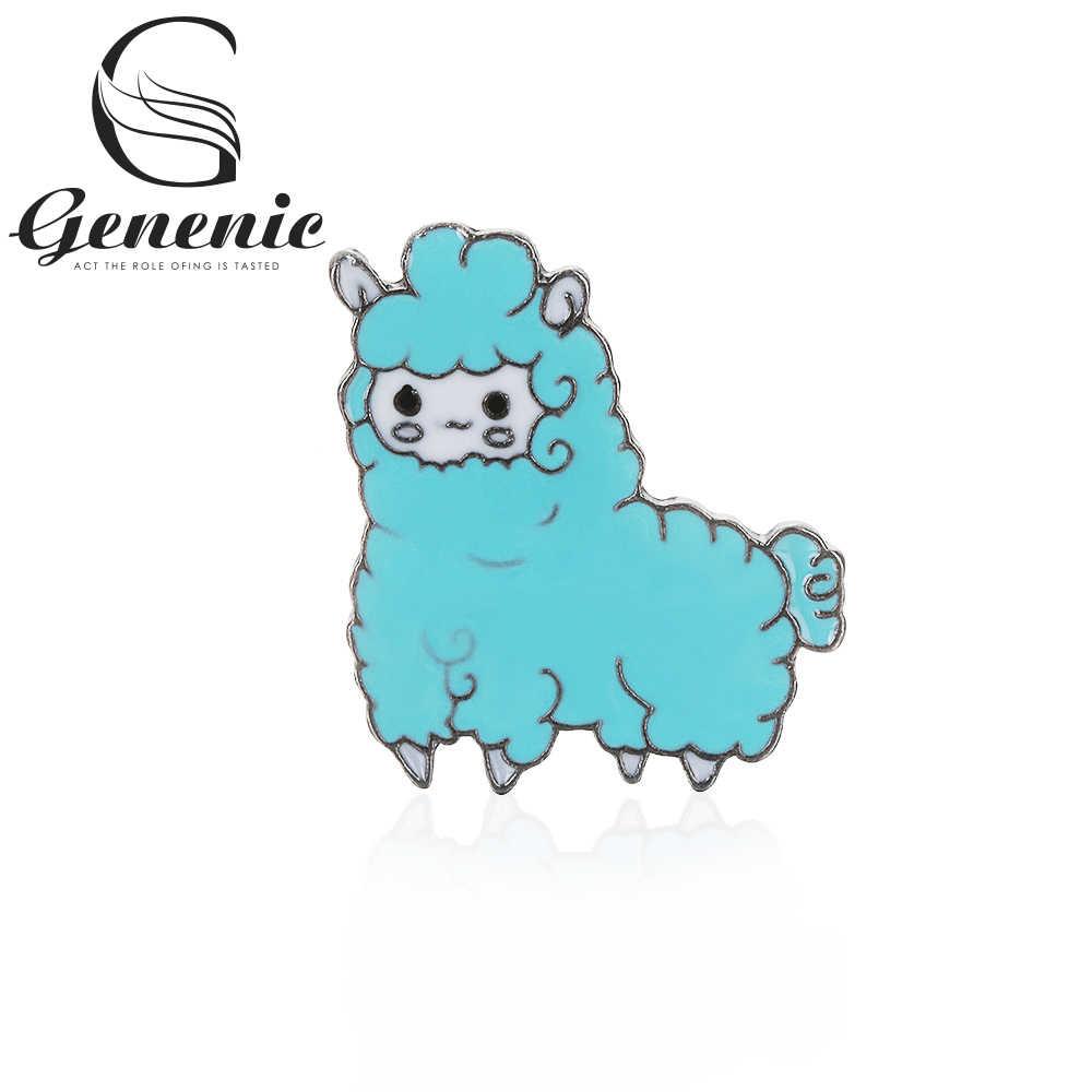 1 Pcs Wanita Kartun Bros Cute Kawaii Domba Alpaca Bros Kerah Lencana Enamel Hewan Pin Tombol Berwarna Merah Muda Biru Perhiasan