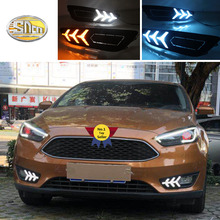 SNCN LED Daytime Running Lights for Ford Focus 3 MK3 2015 2016 2017 Fog lamp cover 12V ABS DRL with 2/3 Functions Relay free shipping drl for ford focus 2014 2015 2016 car daytime running lights auto safety led day driving light with lamp door