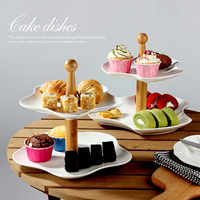 Europe Creative Double Storage Tray For Fruit Cake Dessert Dry Fruit Plate Wooden Ceramic Sitting Room