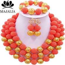 Majalia Fashion orange plastic Costume Jewelry Set Nigerian Wedding African Beads Jewelry Set CX-014(China)
