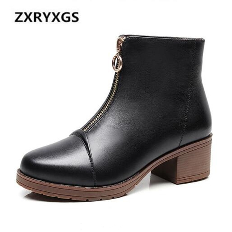 2019 New Autumn and Winter Boots Women Fashion Genuine Leather Shoes Woman Martin Boots Large Size Non-slip Comfort Women Boots