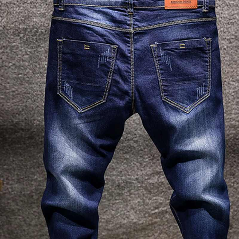 WENYUJH ファッションスキニージーンズメンズストレートダークブルー 2018 秋の新メンズカジュアルバイカーデニムジーンズ男性ストレッチズボンパンツ