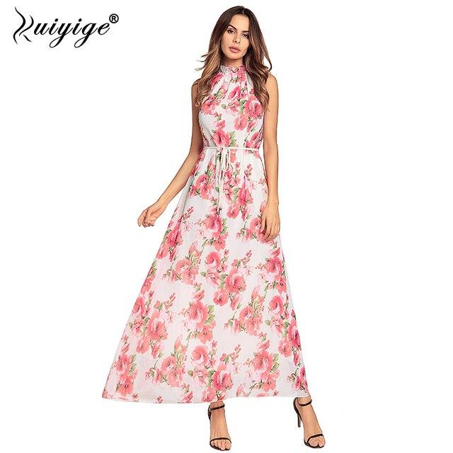 af4a2e541e528 Ruiyige Summer Halter Chiffon Boho Maxi Dress Floral Printed Off Shoulder  Women Dresses 2018 Party Belt Long Beach Vestidos