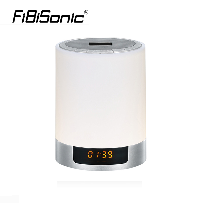 FiBiSonic Night Lights Wireless Bluetooth Speaker Touch Sensor LED Bedside Lamp Warm Light&Color Changing with Alarm Clock